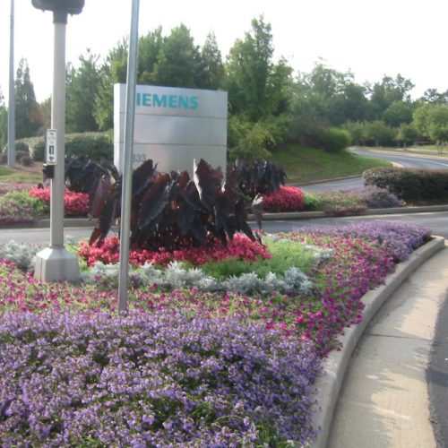 Siemens flower design and installation